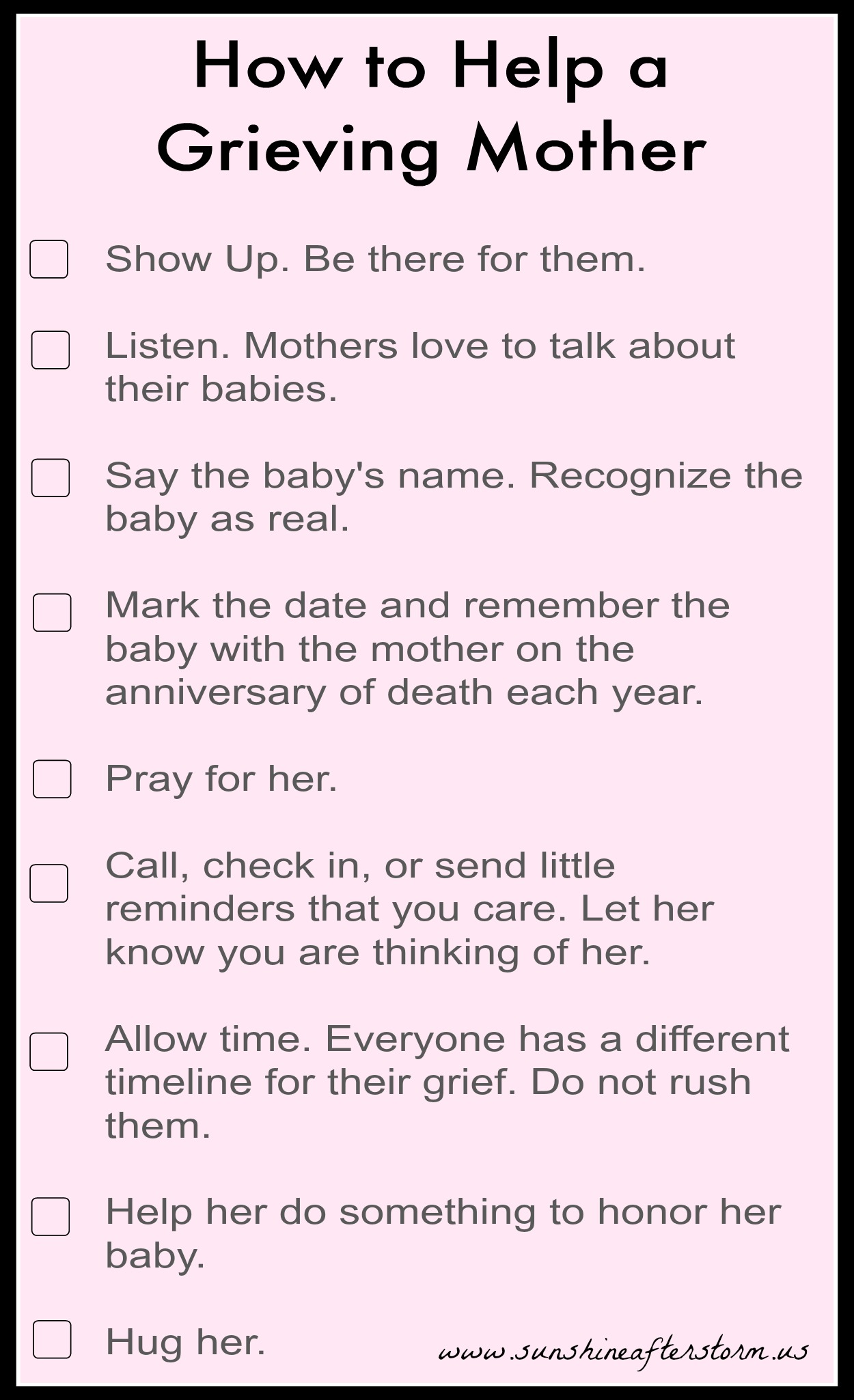 Tips for helping grieving mother